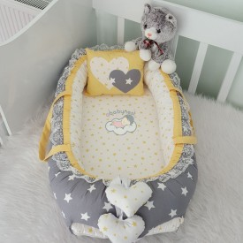 Babynest Dark Grey Star Yellow Combine Heart Design