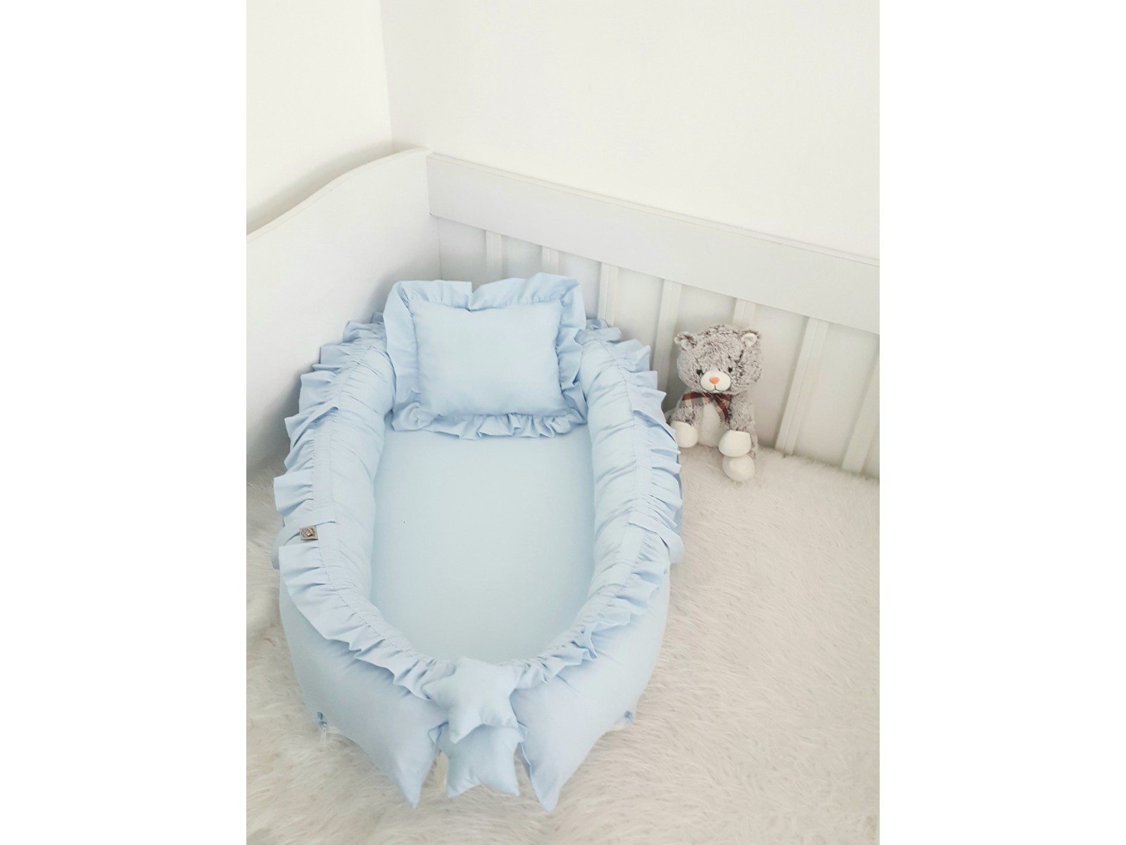 Solid Color Series Blue Frilly Babynest