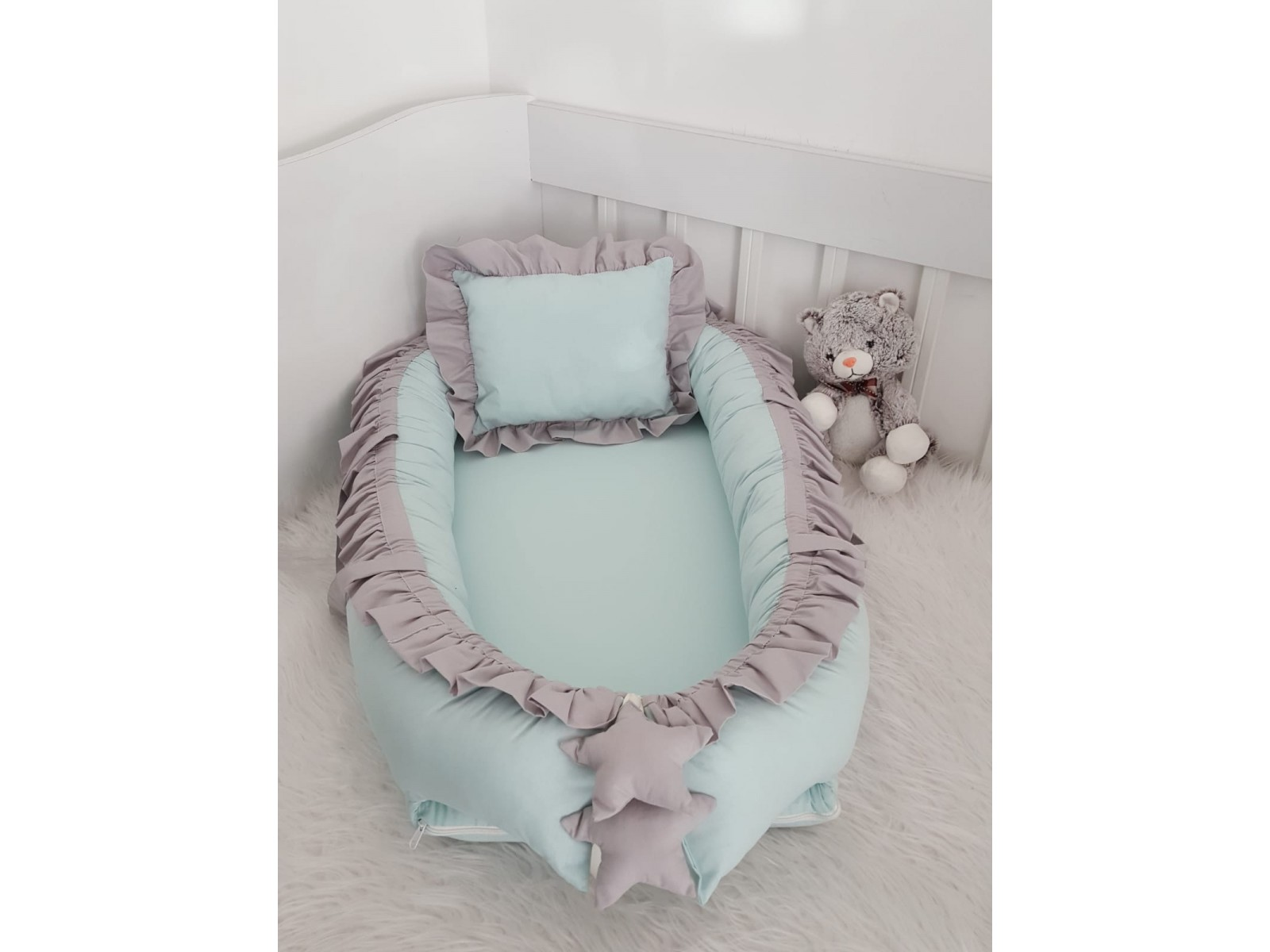 Solid Color Series Water Green Gray Frilly Babynest