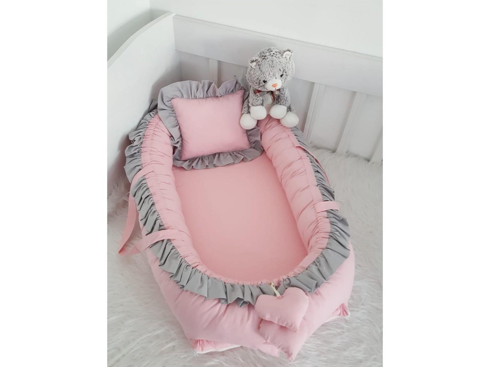 Solid Color Series Powder Gray Frilly Babynest