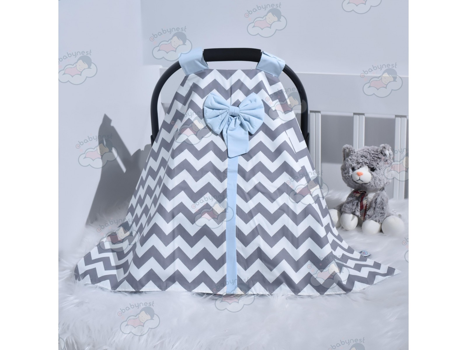 Zigzag Series Blue Grey Stroller Cover