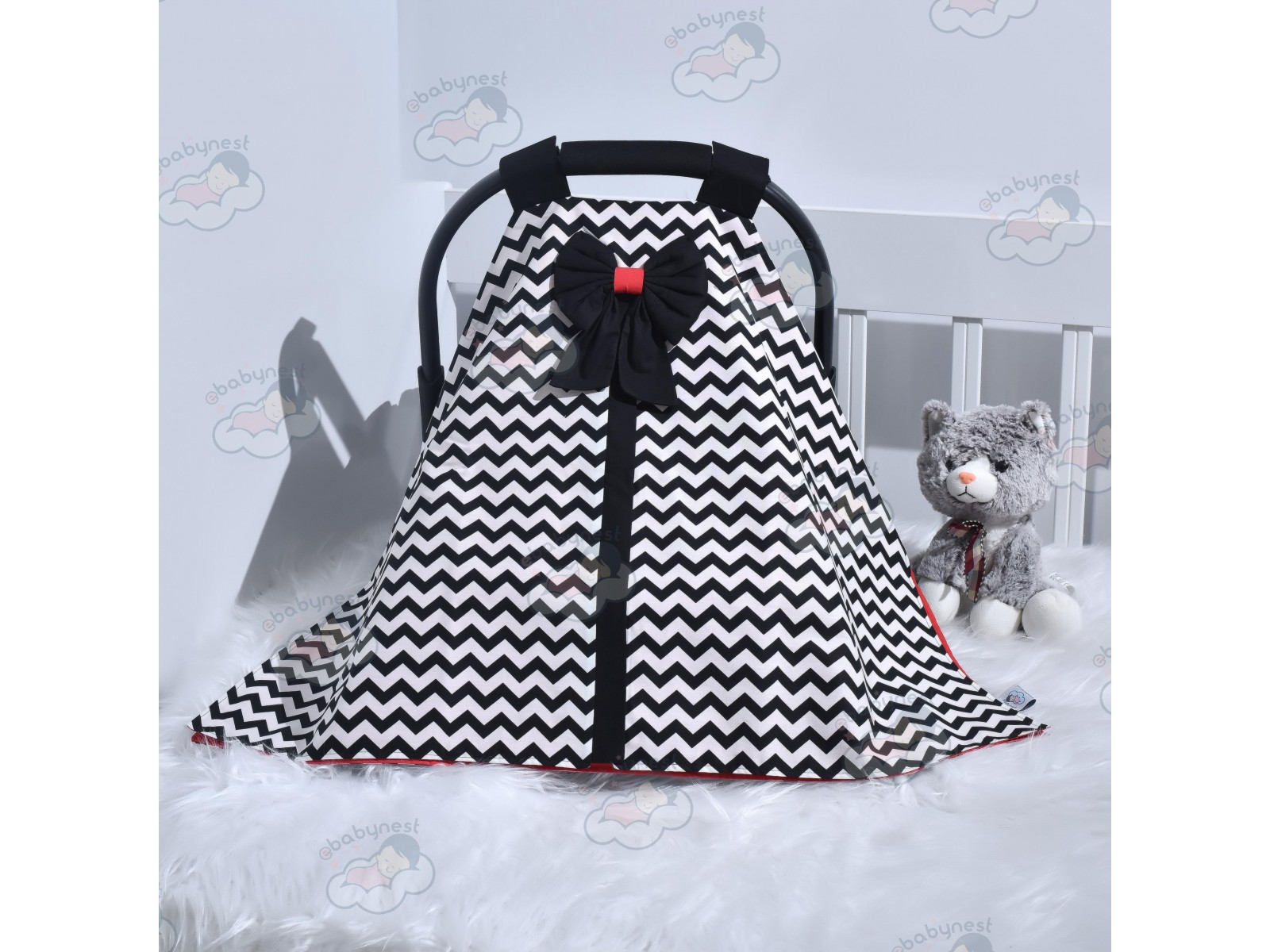 Zigzag Series Black Stroller Cover