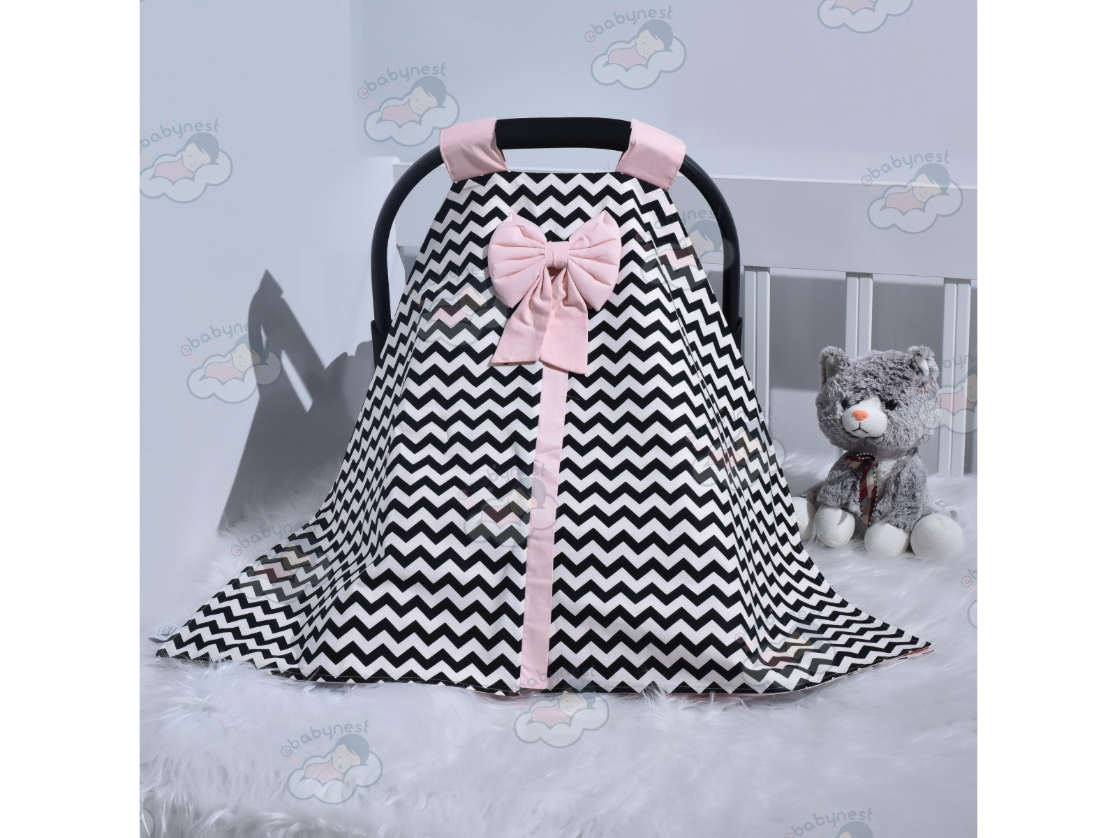 Zigzag Series Powder Black Stroller Cover