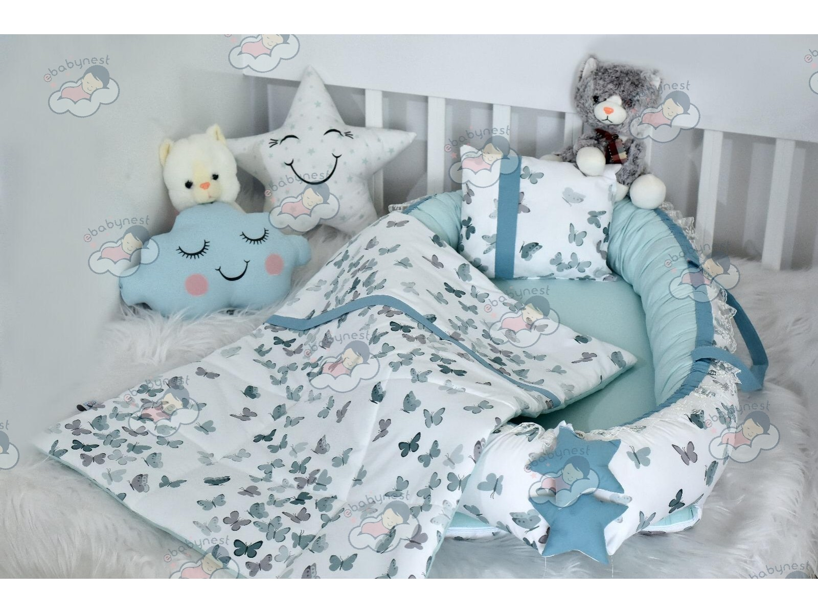 Butterfly Series Water Green Babynest Set v2