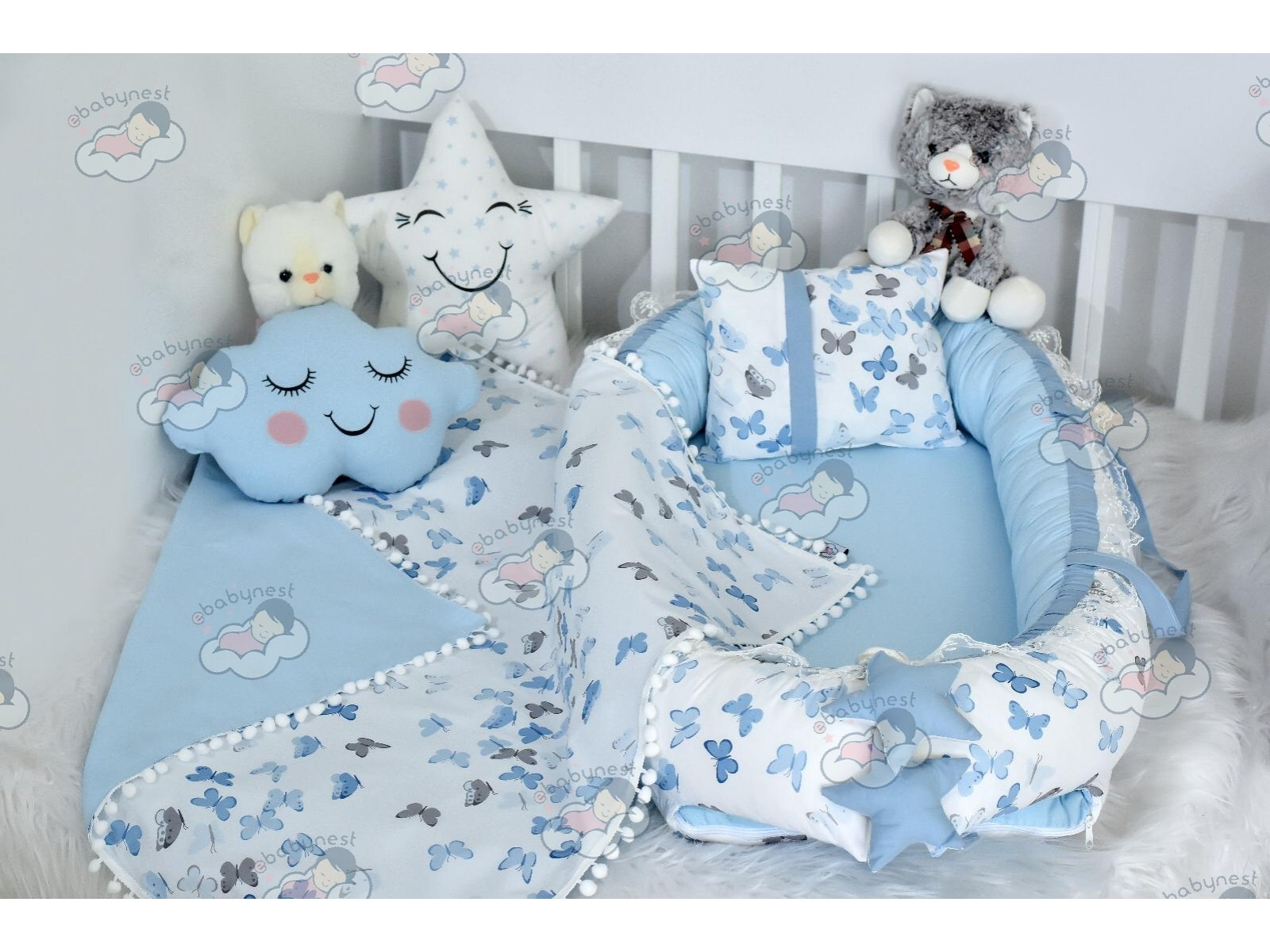Butterfly Series Blue Babynest Set v2 Ponpons
