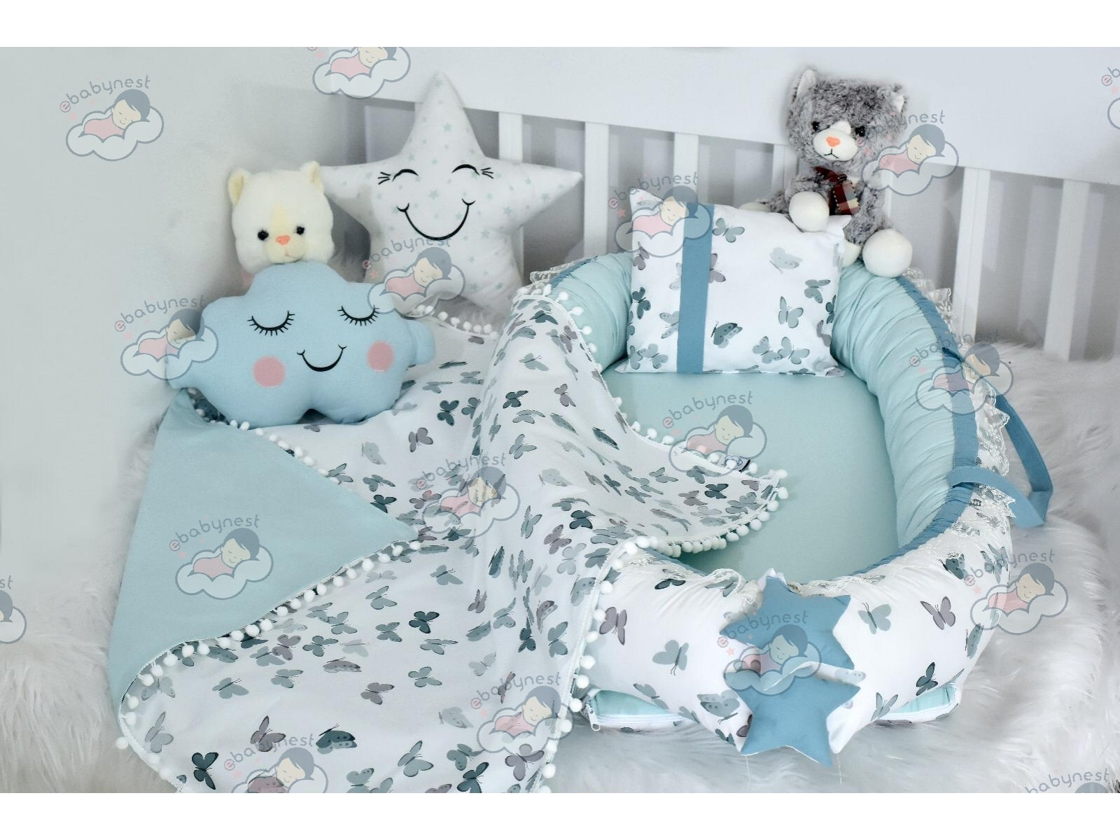Butterfly Series Water Green Babynest Set v2 Ponpons
