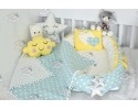 Star Series Water Green Yellow Babynest Set Heart Design Ponpons
