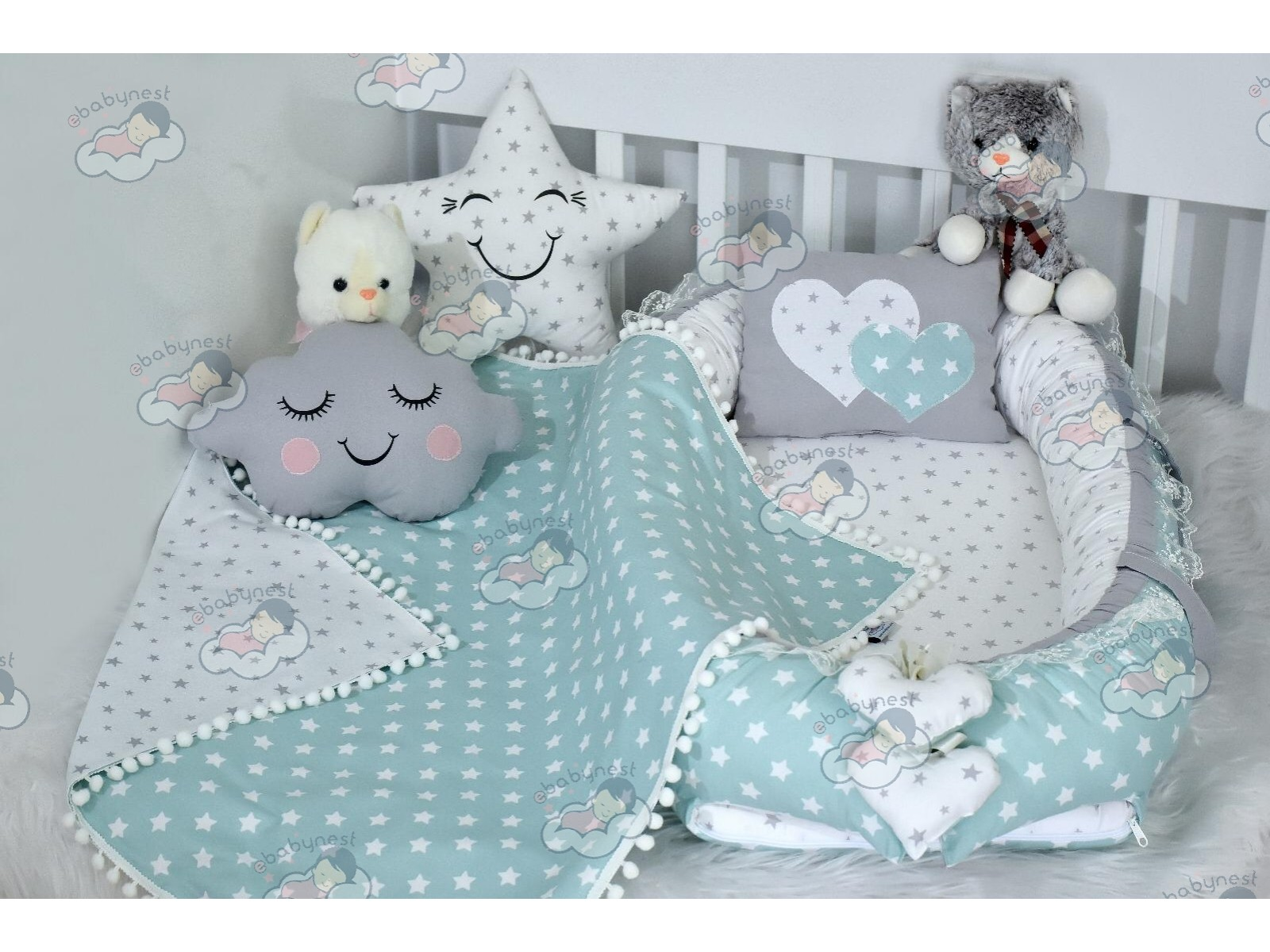 Star Series Water Green Grey Babynest Set Heart Design Ponpons