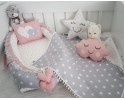 Big Star Series Gray Babynest Set Heart Design Pompon