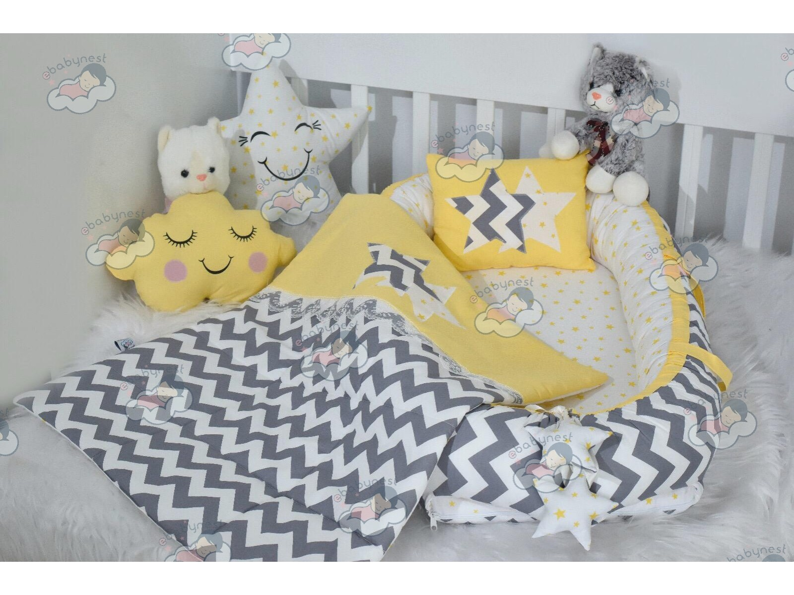 Zigzag Series Yellow Grey Babynest Set v2 Star Design