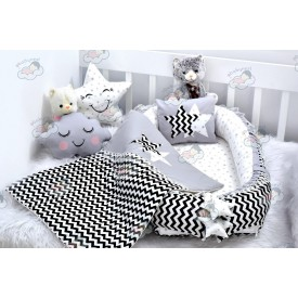 Zigzag Series Black Babynest Set Star Design