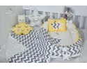 Zigzag Series Yellow Grey Babynest Set v2 Star Design Ponpons