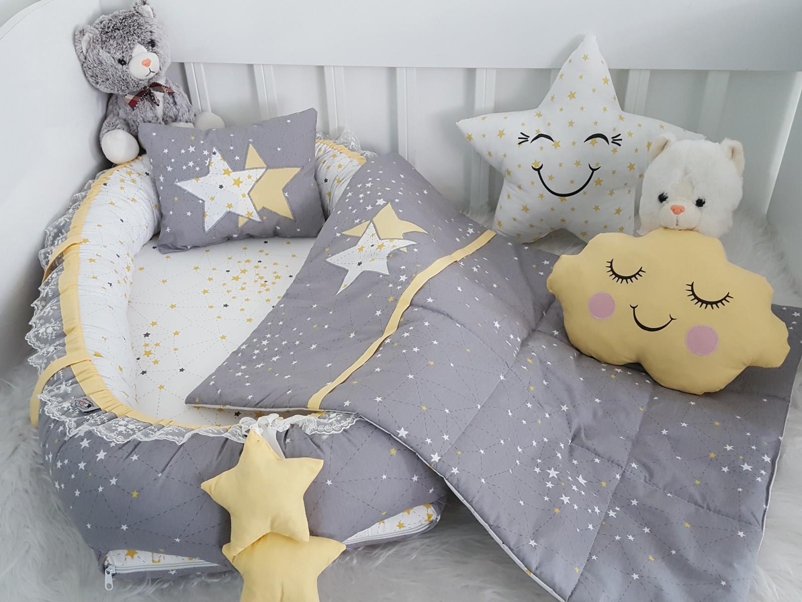 Galaxy Series Grey Babynest Set Star Design v1