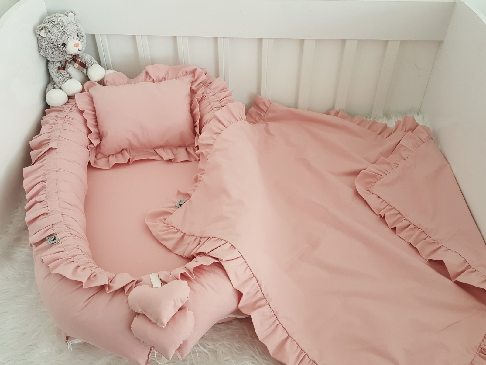 Solid Color Pink Babynest Set Frilly