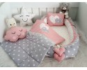 Bigstar Series Gray Star Pink Babynest Set Heart Design
