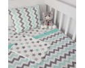 Grey Green Zigzag Star Combine Baby Linens Set