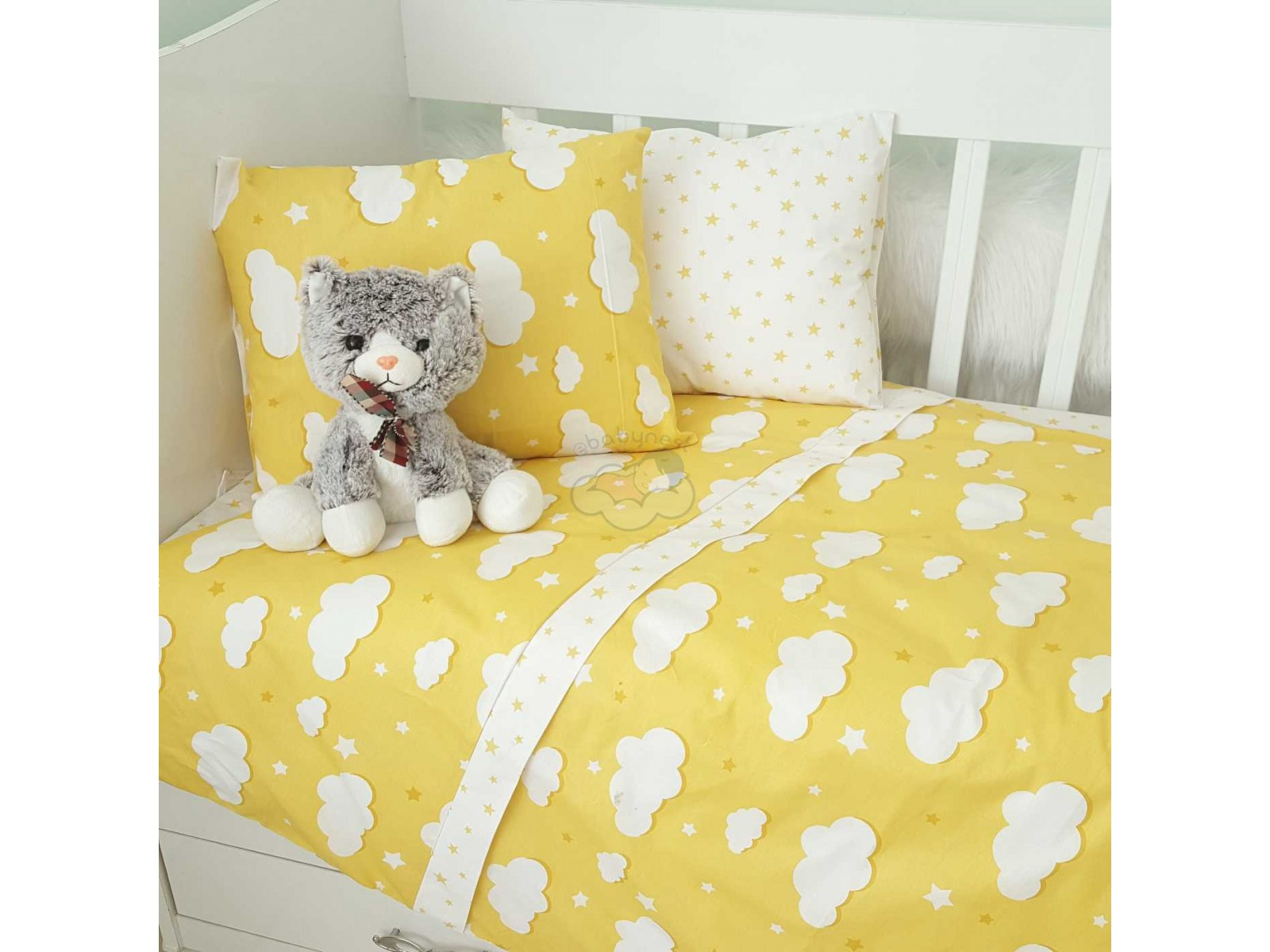 Yellow Clouds Baby Linens Set