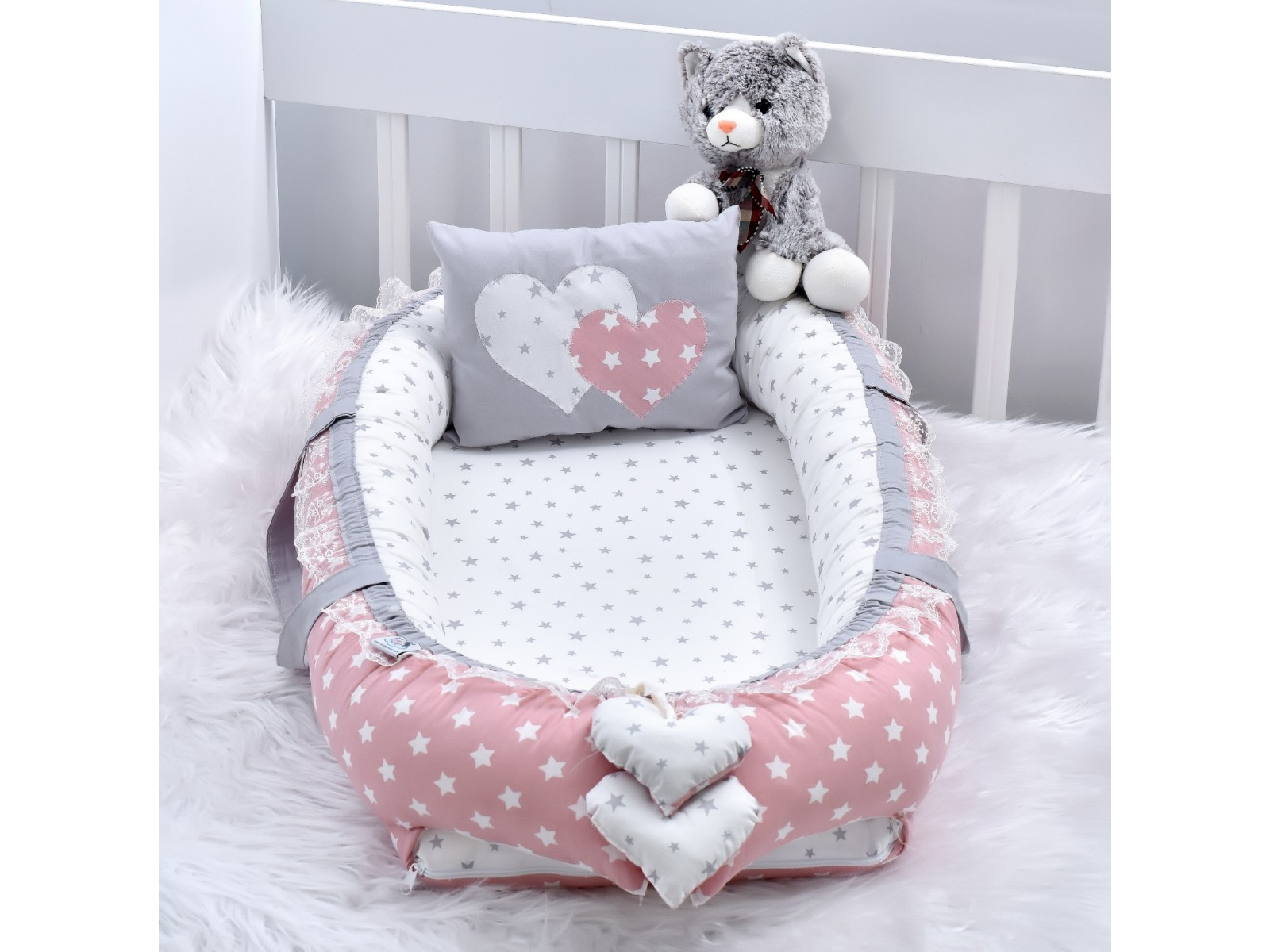 Babynest Powder Star Grey Combine Heart Design