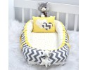 Babynest Grey Zigzag Yellow Combine Heart Design