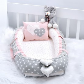 Babynest Grey Star Powder Combine Heart Design