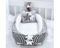 Babynest Black Zigzag Grey Combine Star Design