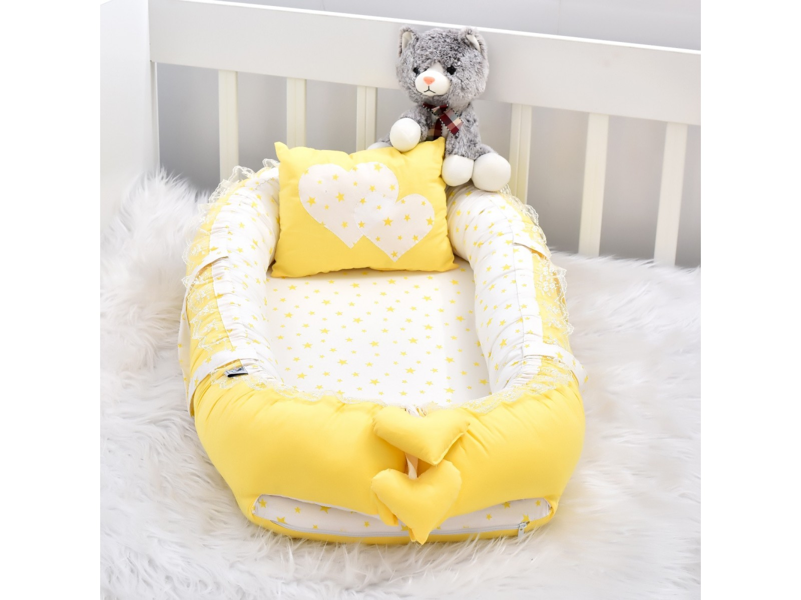 Babynest Solid Yellow Star Combine Heart Design