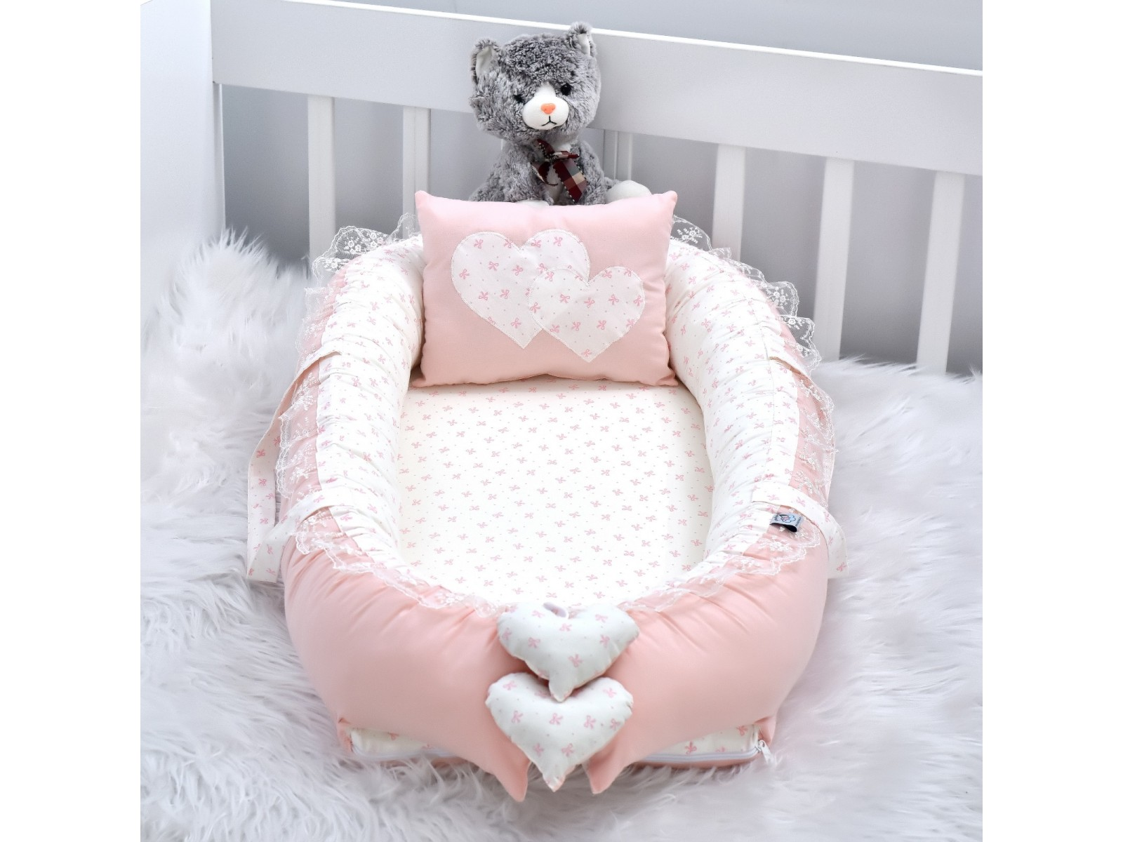 Babynest Solid Powder Star Combine Heart Design