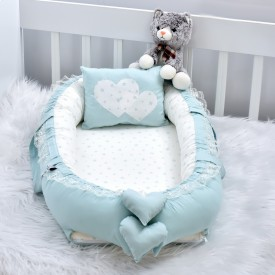 Babynest Solid Green Star Combine Heart Design